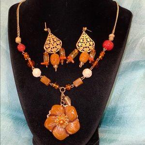 Vintage Amber Necklace Set